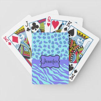 Turquesa y cebra y guepardo de la lavanda barajas de cartas