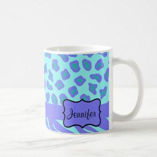 Turquesa y cebra y guepardo de la lavanda taza de café