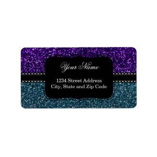 Turquesa y chispas púrpuras del brillo etiqueta de dirección