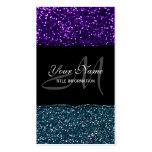 Turquesa y chispas púrpuras del brillo plantillas de tarjeta de negocio