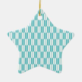 Turquesa y colas blancas de la flecha adorno de cerámica en forma de estrella