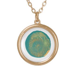 Turquesa y collar pintado oro de la luna