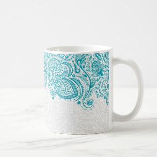 Turquesa y cordón floral blanco de Paisley Taza De Café