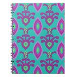 Turquesa y cuaderno púrpura del diseño de Ikat