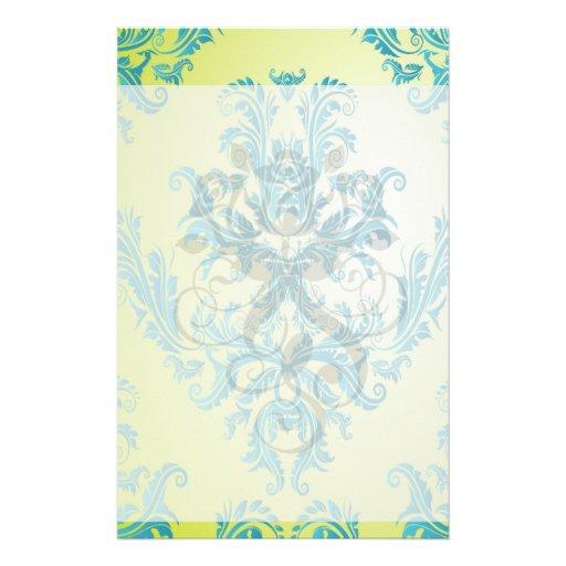 turquesa y damasco adornado de la verde lima  papeleria de diseño