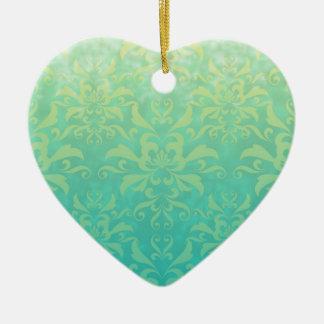 Turquesa y damasco amarillo claro adorno de cerámica en forma de corazón