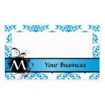 Turquesa y damasco blanco con el monograma plantilla de tarjeta de visita