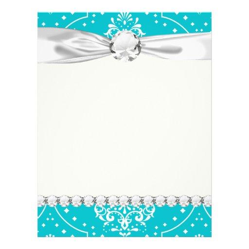 turquesa y damasco blanco del estilo de la alheña tarjetas informativas