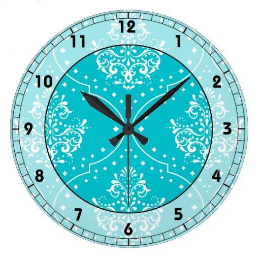 turquesa y damasco blanco del estilo de la alheña reloj