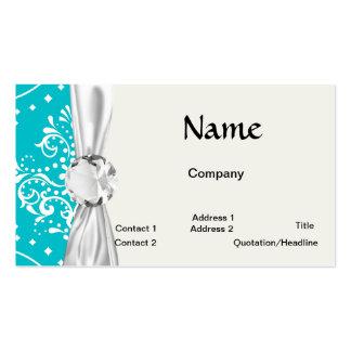 turquesa y damasco blanco del estilo de la alheña tarjetas de visita