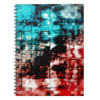 Turquesa y embaldosado rojo del mosaico libretas espirales