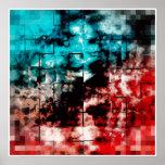Turquesa y embaldosado rojo del mosaico posters
