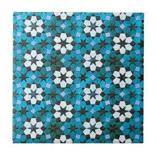 Turquesa y estampado de plores blanco azulejo cuadrado pequeño