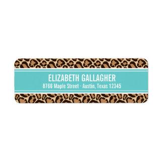 Turquesa y estampado leopardo etiqueta de remite
