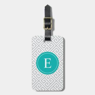 Turquesa y etiqueta griega gris del equipaje de la
