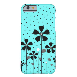 Turquesa y flores negras funda para iPhone 6 barely there