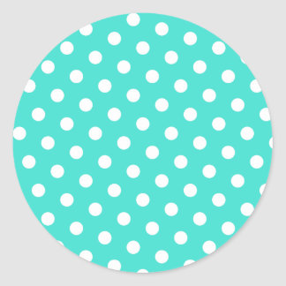 Turquesa y lunares blancos pegatina redonda