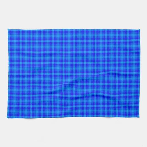 Turquesa y modelo a cuadros retro azul toallas de mano