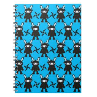 Turquesa y modelo negro del conejito de Ninja Libros De Apuntes