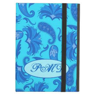 Turquesa y monograma azul de Paisley del art déco