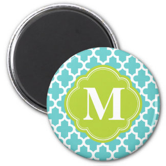 Turquesa y monograma de encargo marroquí moderno d imán redondo 5 cm