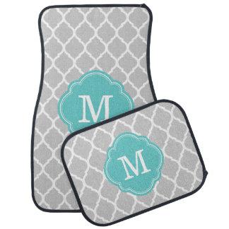 Turquesa y monograma gris de Quatrefoil del Alfombrilla De Auto