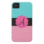Turquesa y monograma rosado de los lunares iPhone 4 Case-Mate protector