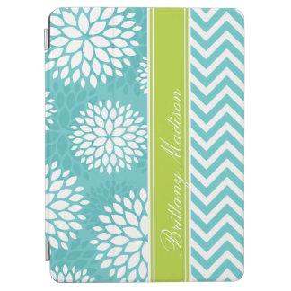 Turquesa y monograma verde Chevron y floral Cover De iPad Air