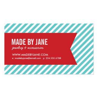 Turquesa y rayas y cinta modernas rojas tarjetas de visita