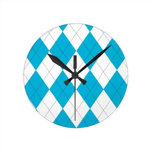 Turquesa y reloj de pared blanco de Argyle