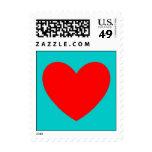Turquesa y sello rojo del corazón