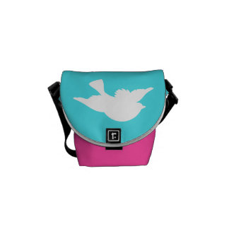 Turquesa y silueta blanca del pájaro bolsa de mensajería