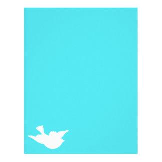Turquesa y silueta blanca del pájaro membretes personalizados