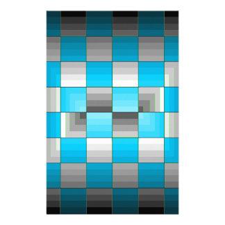 Turquesa y tablero de damas gris de la ilusión ópt papelería personalizada
