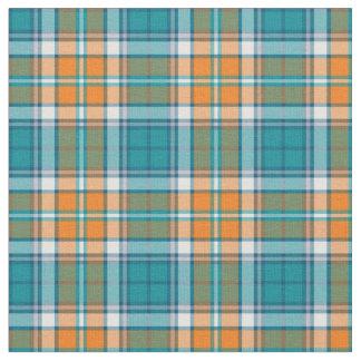 Turquesa y tela escocesa deportiva anaranjada telas