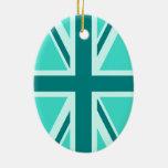 Turquesa y trullo Union Jack 2 Ornamentos De Reyes