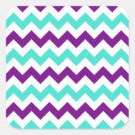 Turquesa y zigzag púrpura calcomanía cuadradas personalizadas
