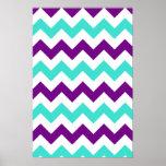 Turquesa y zigzag púrpura poster