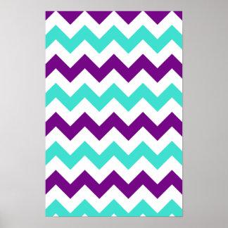 Turquesa y zigzag púrpura póster