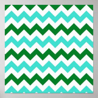 Turquesa y zigzag verde póster