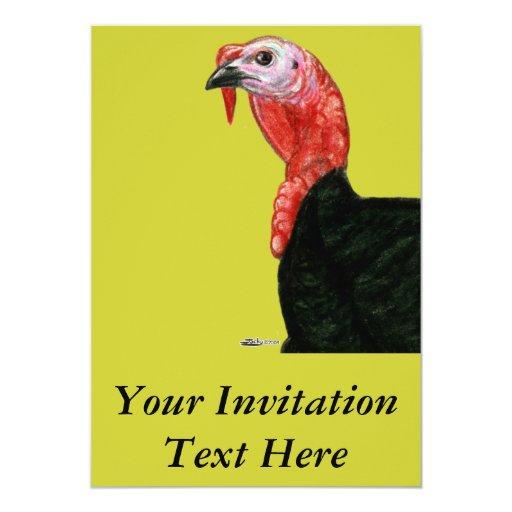 """Turquía:  Cabeza negra de Tom Invitación 5"""" X 7"""""""