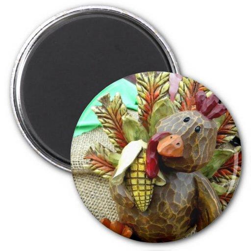 Turquía de madera imán redondo 5 cm