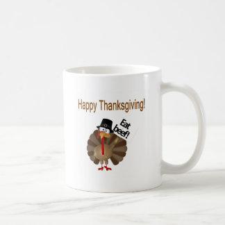 Turquía divertida, acción de gracias feliz taza de café