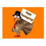 """¡Turquía divertida que dice """"acción de gracias fel Tarjetas Postales"""