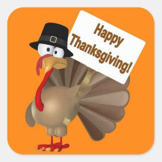 """¡Turquía divertida que dice """"acción de gracias Calcomanía Cuadrada"""