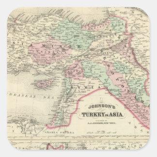 Turquía en Asia, Persia, Arabia, Beloochistan Pegatina Cuadrada