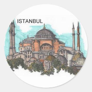 Turquía Estambul Hagia Sophia (por St.K) Pegatina Redonda