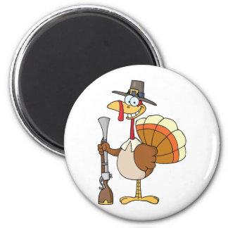 Turquía feliz con el gorra y el mosquete del pereg imán redondo 5 cm