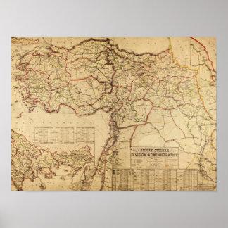 Turquía, otomano EmpirePanoramic MapTurkey Poster