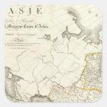Turquía, Rusia y mapa grabado Asia Pegatina Cuadrada
